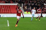 Nottingham Forest's Djamal Abdoun celebrates after he scores his sides 1st goal from a penalty. FA Cup with Budweiser, 3rd round, Nottingham Forest v West Ham Utd match at the City Ground in Nottingham, England on Sunday 5th Jan 2014.<br /> pic by Andrew Orchard, Andrew Orchard sports photography.