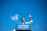An estimated 80,000 people attend a campaign rally for Democratic presidential nominee U.S. Sen. Barack Obama of Illinois under the Gateway Arch in St. Louis, Missouri.