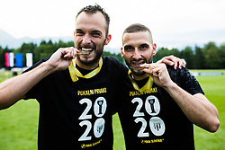 Ziga Kous of NS Mura and Nino Kouter of NS Mura with medals after winning final match of Slovenian footaball cup for season 2019/202 between team NK Nafta 1903 and NS Mura, Bro pri Kranju on 24 June 2020, Kranj, Slovenia. Photo by Grega Valancic / Sportida