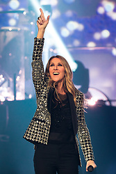 © Licensed to London News Pictures . 25/06/2017 . Leeds , UK . Canadian singer Celine Dion performs at the First Direct Arena in Leeds in the first of two shows relocated from the Manchester Arena following a murderous terror attack at the Manchester venue on 22nd May 2017 . Photo credit : Joel Goodman/LNP