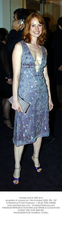 Actress ALICIA WITT at a reception in London on 14th October 2003.PNL 187