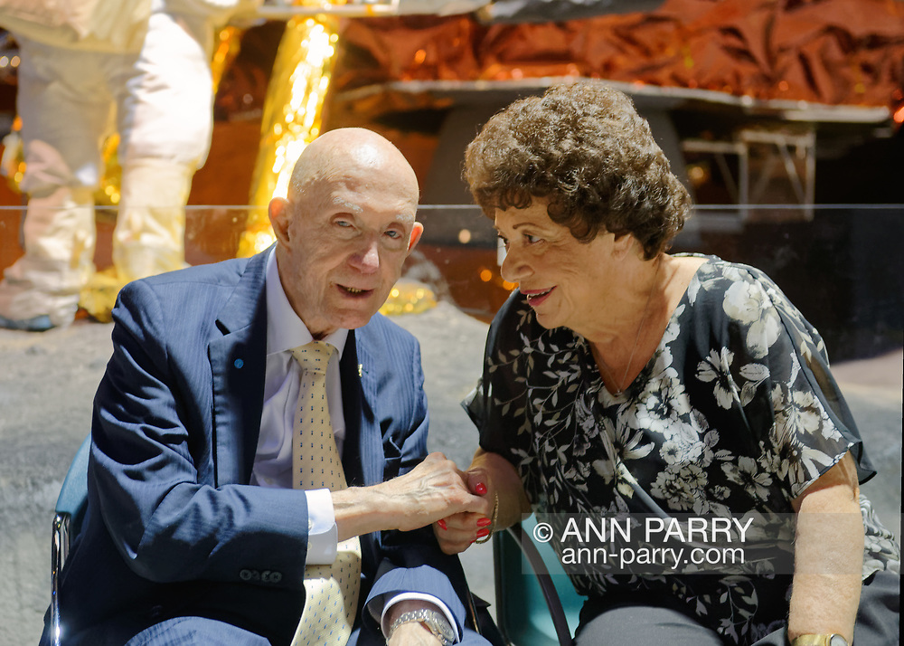 Garden City, New York, U.S. November 14, 2019. L-R, Apollo 10 Commander Lt. Gen. THOMAS STAFFORD talks with MARY SPINOSA, of Hauppauge, in the LEM Room during the 17th Annual Cradle of Aviation Museum Air and Space Gala.  Tom Stafford received Spirit of Discovery Award. Spinosa was seated with the East West Industries table.