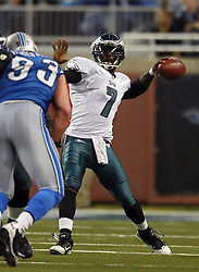 DETROIT - SEPTEMBER 19: Quarterback Michael Vick #7 of the Philadelphia Eagles passes during the game against the Detroit Lions on September 19, 2010 at Ford Field in Detroit, Michigan. The Eagles won 35-32. (Photo by Drew Hallowell/Getty Images)  *** Local Caption *** Michael Vick