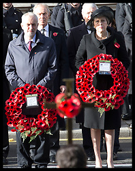 November 11, 2018 - London, London, United Kingdom - Image licensed to i-Images Picture Agency. 11/11/2018. London, United Kingdom. Prime Minister Theresa May and Labour leader Jeremy Corbyn at the Remembrance Sunday service at The Cenotaph in London on  the Centenary of the end of the First World War. (Credit Image: © Stephen Lock/i-Images via ZUMA Press)