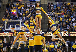Mar 20, 2019; Morgantown, WV, USA; West Virginia Mountaineers cheerleaders perform during the first half against the Grand Canyon Antelopes at WVU Coliseum. Mandatory Credit: Ben Queen