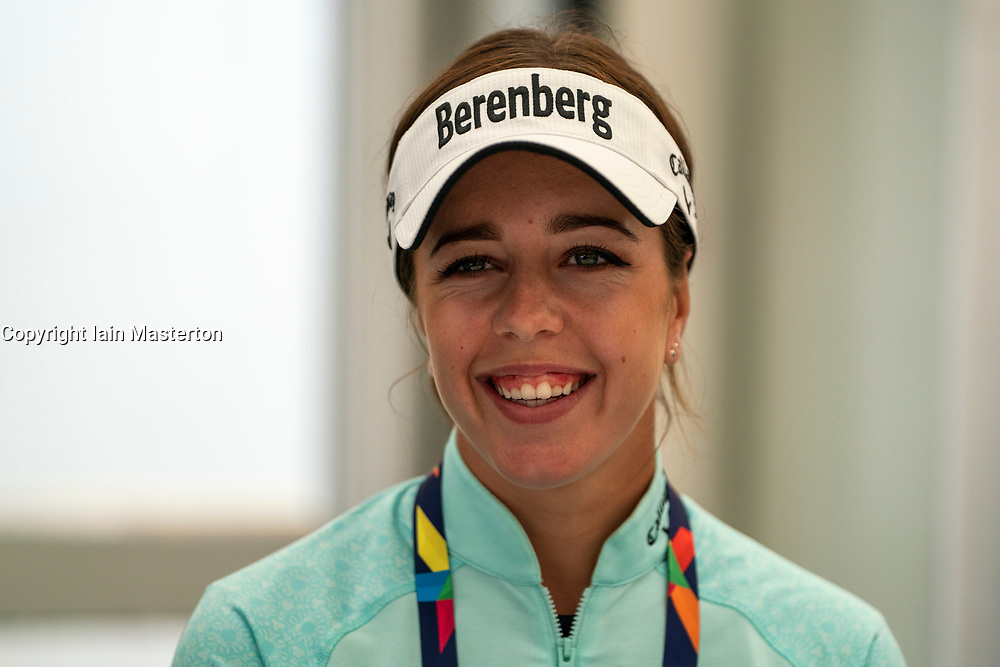 Gleneagles, Scotland, UK; 7 August, 2018.  Ladies British Open 2018 champion Georgia Hall gives a press conference at Gleneagles Golf Course ahead of competing for Great Britain in the European Championships 2018. She is paired with Laura Davies