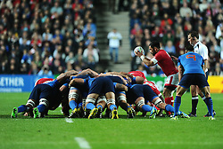 Phil Mack of Canada puts the ball in to the scrum  - Mandatory byline: Joe Meredith/JMP - 07966386802 - 01/10/2015 - Rugby Union, World Cup - Stadium:MK -Milton Keynes,England - France v Canada - Rugby World Cup 2015