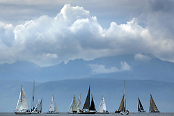 The Silvers Marine Scottish Series 2014, organised by the  Clyde Cruising Club,  celebrates it's 40th anniversary.<br /> <br /> Arran, Fleet, Start<br /> Final day racing on Loch Fyne from 23rd-26th May 2014<br /> <br /> Credit : Marc Turner / PFM