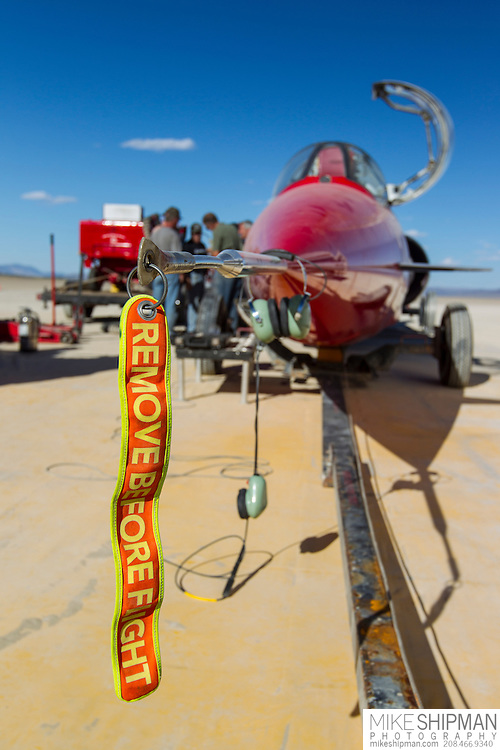 Remove Before Flight. The North American Eagle waits to attempt a land speed record on the Alvord Desert of Oregon
