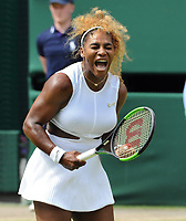 Tennis - 2019 Wimbledon Championships - Week Two, Tuesday (Day Eight)<br /> <br /> Women's Singles, Quarter-Final: Alison Riske (USA) vs. Serena Williams (USA)<br /> <br /> Williams serves, on Centre Court.<br /> <br /> COLORSPORT/ANDREW COWIE
