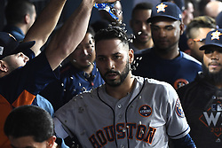 October 25, 2017 - Los Angeles, California, U.S. - Houston Astros' Marwin Gonzalez celebrates in the dugout after hitting a solo home run to tie the game against the Los Angeles Dodgers in the ninth inning of game two of a World Series baseball game at Dodger Stadium on Wednesday, Oct. 25, 2017 in Los Angeles. Houston Astros won 7-6 in 11 innings. (Photo by Keith Birmingham, Pasadena Star-News/SCNG) (Credit Image: © San Gabriel Valley Tribune via ZUMA Wire)