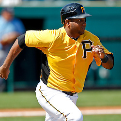 February 25, 2011; Bradenton, FL, USA; Pittsburgh Pirates infielder Andy Marte (12) during a spring training exhibition game against the State College of Florida Manatees at McKechnie Field. The Pirates defeated the Manatees 21-1. Mandatory Credit: Derick E. Hingle
