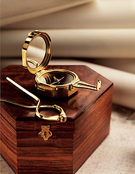 Compass with wood case calipers and maps compass