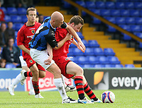Photo: Paul Greenwood.<br />Stockport County v Cardiff City. Coca Cola Championship. Pre Season Friendly. 28/07/2007.<br />Cardiff's Steve Maclean (R) shields the ball from Jason Taylor