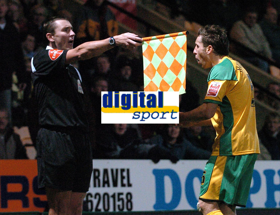 Photo: Ashley Pickering.<br />Norwich City v Sheffield Wednesday. Coca Cola Championship. 09/12/2006.<br />Darren Huckerby appeals to the linesman after a penalty for handball is not given