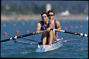Sydney, AUSTRALIA, GBR M2-. Bow Ed COODE and Greg SEARLE. 2000 Olympic Regatta, West Lakes Penrith. NSW.  [Mandatory Credit. Peter Spurrier/Intersport Images] Sydney International Regatta Centre (SIRC) 2000 Olympic Rowing Regatta00085138.tif