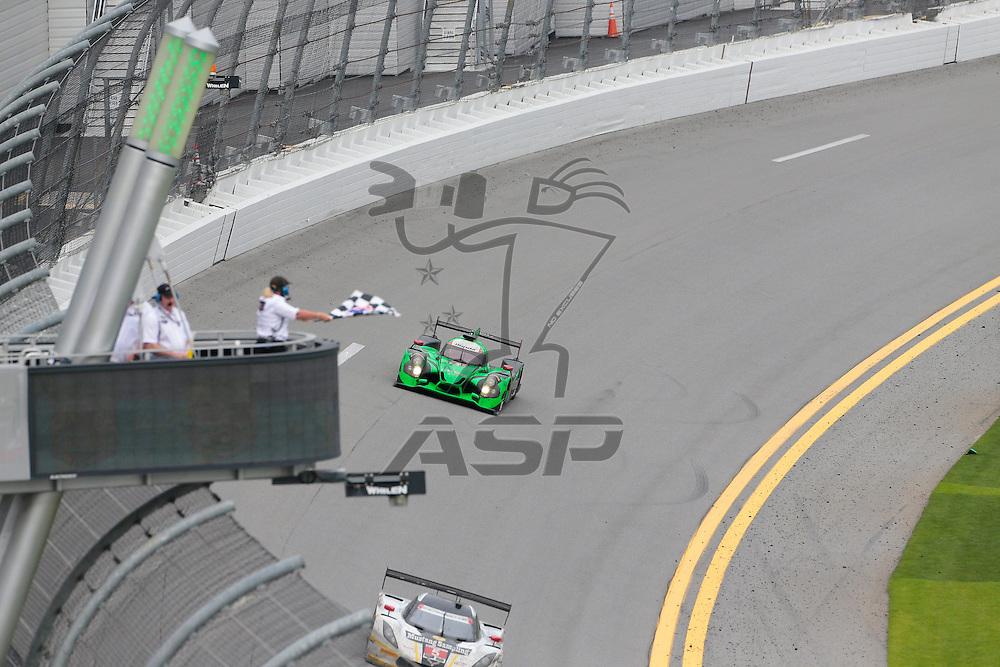 Daytona Beach, FL - Jan 31, 2016:  The Extreme Motorsports Honda takes the checkered flag, winning the Rolex 24 at Daytona at Daytona International Speedway in Daytona Beach, FL.