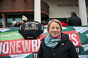 Natalie Bennett of the Green Party. Today is the first day of a two week trial against the 13 Heathrow activists at Willesden Magistrate's Court. The activists were met by cheering supporters before heading in to their first day in court. Amongst the many supporters was Natalie Bennett of the Green Party. A brief statement was read out by Rebecca Holly Sanderson and todays hearing only expected to hear evidence from defendant Ella Gilbert. July 13 2015 13 climate activists staged a peaceful protest at Heathrow airport  against a third runway and any further airport expansions.