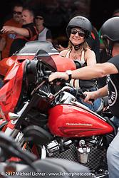 Test riding a new 2017 Harley-Davidson Milwaukee Eight during Daytona Beach Bike Week. FL. USA. Sunday March 12, 2017. Photography ©2017 Michael Lichter.