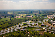 Nederland, Noord-Brabant, Eindhoven, 27-05-2013; Randweg Eindhoven. Knooppunt De Hogt, verkeersknooppunt, aansluiting autosnelweg A2 en autoweg N2 op de A67. Kenmerkend zijn de fly-overs, ook over het riviertje De Dommel.<br /> View on perimeter road Eindhoven and trraffic junction near Eindhoven, one of the main motorways of the Netherlands, the A2. <br /> luchtfoto (toeslag op standard tarieven);<br /> aerial photo (additional fee required);<br /> copyright foto/photo Siebe Swart.
