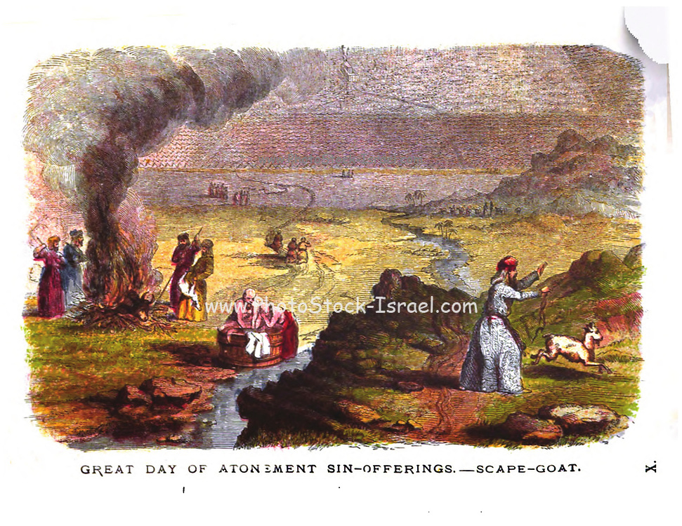 Great Day of Atonement. Nation assembled around Tabernacle. Release of Scape-Goat. Burning of Sin Offerings without the Camp, and Purification of those who carried them forth, at the Stream from the Smitten Rock.  From the book ' Pictorial Description Of The Tabernacle in the Wilderness: Its Rites and Ceremonies ' A detailed description and pictorial guide of the Tabernacle as described in the Old Testament book of Exodus in the Bible, containing many colored illustrated pictures. by John Dilworth. Published by The Sunday School Union, London in 1878