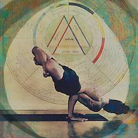 Man practicing yoga in an advanced arm balance. Photo based illustration with vintage gnostic mandala.