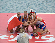 Shunyi, CHINA.  FRA M4- having their photo taken after the medal ceremony,  Olympic Regatta, Shunyi Rowing Course.  Sunday  17/08/2008  [Mandatory Credit:  Svend Aage Nielsen/  Intersport Images]