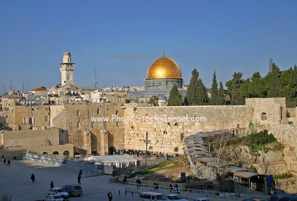 Golden Dome over the wailing wall, Jerusalem, Israel