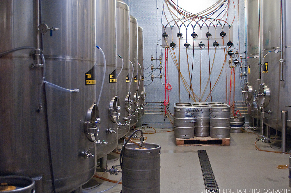 Beer storage tanks with taps running to the bar upstairs.
