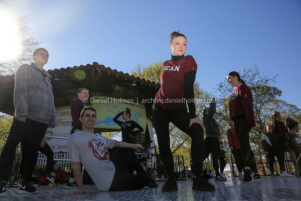 (4/27/19, FRANKLIN, MA) Dean College senior dance major, Mckenna Gill, performs with her classmates during the ArtWeek kickoff on the Franklin Common on Saturday. [Daily News and Wicked Local Photo/Dan Holmes]
