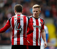 Mark Duffy of Sheffield Utd talks to John Fleck of Sheffield Utd  during the English League One match at  Bramall Lane Stadium, Sheffield. Picture date: April 30th 2017. Pic credit should read: Simon Bellis/Sportimage