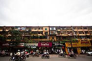 An old traditional-style housing block in the centre of Hanoi, Vietnam