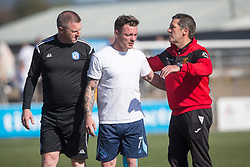 Forfar Athletic's David Cox and Annan Athletic's manager Jim Chapman after the final whistle. Forfar Athletic 2 v 4 Annan Athletic, Scottish Football League Division Two game played 6/5/2017 at Station Park.