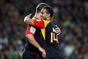 Chiefs' Lelia Masaga celebrates with Toby Smith for his try. Super Rugby rugby union match, Chiefs v Hurricanes at Waikato Stadium, Hamilton, New Zealand. Saturday 28th April 2012. Photo: Anthony Au-Yeung / photosport.co.nz