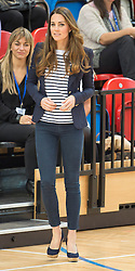 The Duchess of Cambridge during a SportsAid Athlete Workshop at the Copper Box, in the Queen Elizabeth Olympic Park in London, United Kingdom,  Friday, 18th October 2013. Picture by i-Images