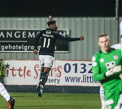 Falkirk's Myles Hippolyte celebrates after scoring their third goal. Falkirk 3 v 1 St Mirren, Scottish Championship game played 3/12/2016 at The Falkirk Stadium.