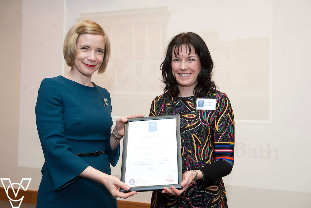 Chief curator of the Historic Royal Palaces, Dr Lucy Worsley presents an award to representatives from No.1 Royal Crescent, Bath<br /> <br /> Sandford Awards 2014 ceremony held at the National Maritime Museum, Greenwich.<br /> Date: December 5, 2014<br /> <br /> Picture: Chris Vaughan/Chris Vaughan Photography