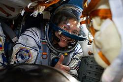 Expedition 62 crew member Jessica Meir of NASA gives a thumbs up after she, Roscosmos cosmonaut Oleg Skripochka, and NASA astronaut Andrew Morgan landed in their Soyuz MS-15 spacecraft in a remote area near the town of Zhezkazgan, Kazakhstan on Friday, April 17, 2020. Meir and Skripochka returned after 205 days in space, and Morgan after 272 days in space. All three served as Expedition 60-61-62 crew members onboard the International Space Station.<br /> <br /> Where: Zhezkazgan, Kazakhstan<br /> When: 17 Apr 2020<br /> Credit: NASA/GCTC/Andrey Shelepin/Cover Images<br /> <br /> **Editorial use only**