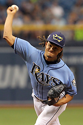 May 6, 2018 - St. Petersburg, FL, U.S. - ST. PETERSBURG, FL - MAY 06: Chris Archer (22) of the Rays delivers a pitch to the plate during the MLB regular season game between the Toronto Blue Jays and the Tampa Bay Rays on May 06, 2018, at Tropicana Field in St. Petersburg, FL. (Photo by Cliff Welch/Icon Sportswire) (Credit Image: © Cliff Welch/Icon SMI via ZUMA Press)