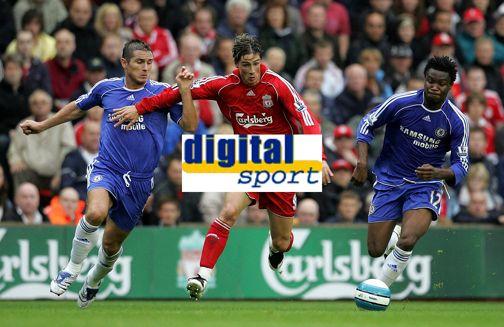 Photo: Paul Thomas.<br /> Liverpool v Chelsea. The FA Barclays Premiership. 19/08/2007.<br /> <br /> Goal scorer Fernando Torres (Red) of Liverpool battles Frank Lampard (L) and John Obi Mikel.