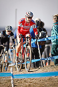 SHOT 1/12/14 2:40:02 PM - Meredith Miller (#3) of Boulder, Co. competes in the Women's Elite race at the 2014 USA Cycling Cyclo-Cross National Championships at Valmont Bike Park in Boulder, Co. Miller finished third in the race with a time of 43:55. (Photo by Marc Piscotty / © 2014)