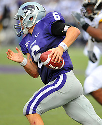 Nov 14, 2009; Manhattan, KS, USA; Kansas State quarterback Grant Gregory (6) runs for short yardage in the second half against the Missouri Tigers at Bill Snyder Family Stadium. The Tigers won 38-12. Mandatory Credit: Denny Medley-US PRESSWIRE