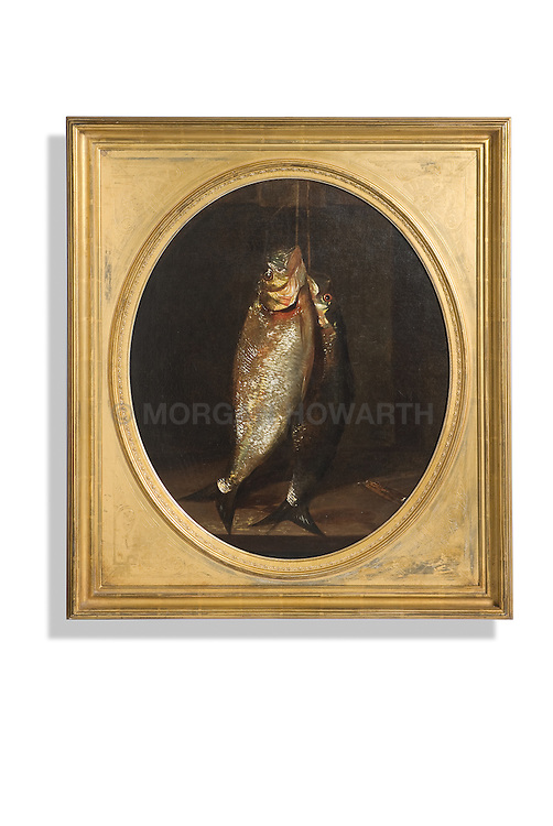 Susquehanna Shad, Oil on Canvas, by Andrew John Henry Way Guilt framed american painting of caught fish