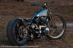 Pat Patterson's Build-Off and Naked Truth bike at the Smokeout. Rockingham, NC. USA. June 20, 2015.  Photography ©2015 Michael Lichter.