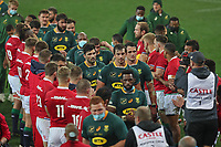 Rugby Union - 2021 British & Irish Lions Tour of South Africa - Second Test: South Africa vs British & Irish Lions<br /> <br /> The Lions applaud the victorious Springboks off the field at the end of the game after the home side bring the series level, at Cape Town Stadium, Cape Town. Eben Etsebeth and Franco Mostert in focus, centre.<br /> <br /> COLORSPORT / JOHAN ORTON