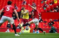 Football - 2020 / 2021 Premier League - Manchester United vs Burnley - Old Trafford<br /> <br /> Chris Wood of Burnley has a shot on goal at Old Trafford<br /> <br /> Credit COLORSPORT/LYNNE CAMERON