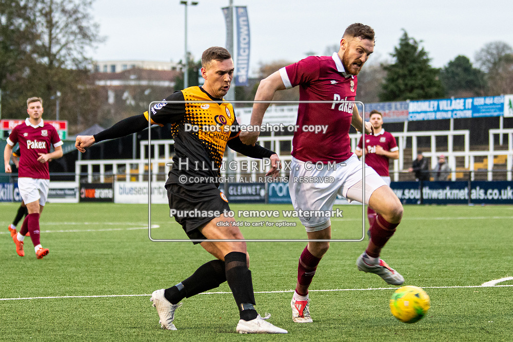 BROMLEY, UK - DECEMBER 07: Joseph Taylor, of Cray Wanderers FC, crosses the ball for the first goal during the BetVictor Isthmian Premier League match between Cray Wanderers and Potters Bar Town at Hayes Lane on December 7, 2019 in Bromley, UK. <br /> (Photo: Jon Hilliger)