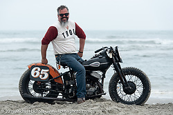Bill Gallo (65) of New York on his 1946 Harley-Davidson 45 inch flathead racer at TROG (The Race Of Gentlemen). Wildwood, NJ. USA. Saturday June 9, 2018. Photography ©2018 Michael Lichter.