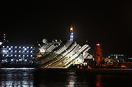The Costa Concordia wreck during the parbuckling operations