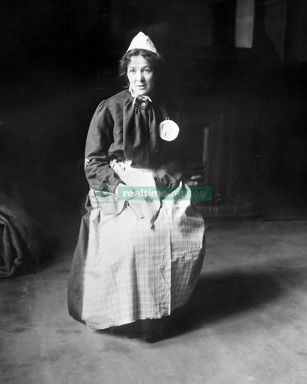 File photo c.1910 of Emmeline Pankhurst in a prison dress during a spell in jail for a conspiracy charge. She has been voted third in a list of women who have made the most significant impact on world history.